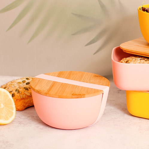 Pastel Pink Lunch Box Bowl with Bamboo Lid