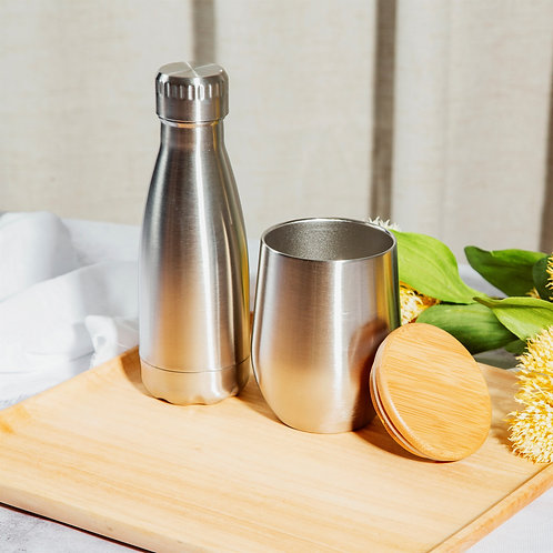 Stainless Steel Travel Cup with a Bamboo Lid
