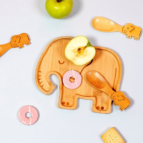 Bamboo Childrens Plate in a Elephant Design