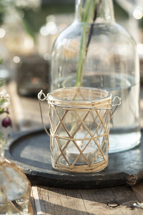 Candle Holder with Bamboo Braid