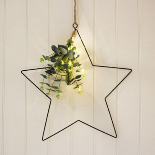 Hanging Eucalypyus  Star with Led Lights, Large
