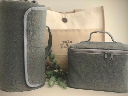 Picnic Blanket & Insulated Chiller Bag, Grey Tweed