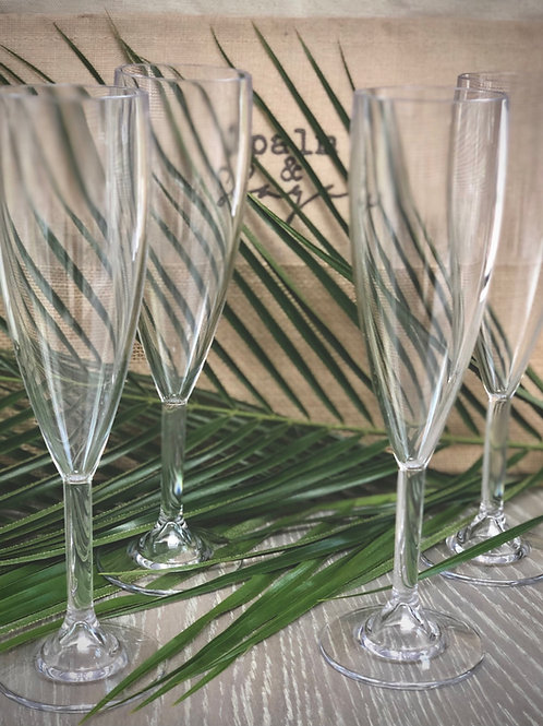 Reusable Glass Look Champagne Flute, Set of 4