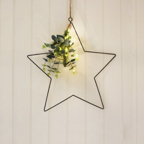 Hanging Eucalypyus  Star with Led Lights, Small