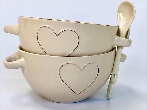 Ceramic Heart Bowl & Spoon Set