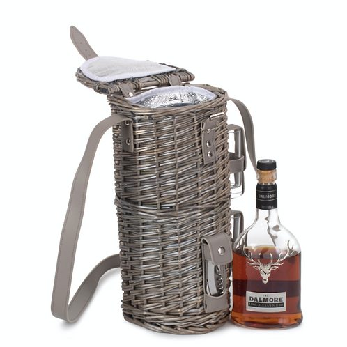Antique Wash Willow Single Bottle Whiskey Carrier with Cartridge Glasses