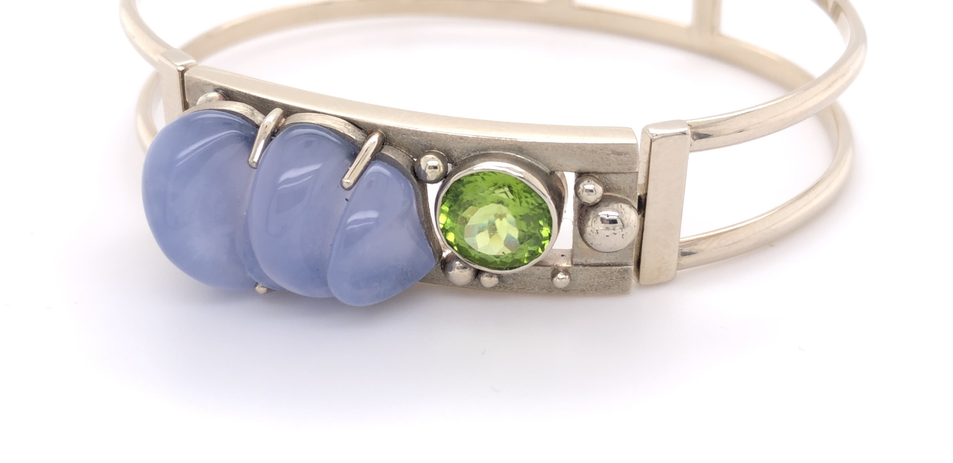 Tension Cuff with Blue Chalcedony Charm