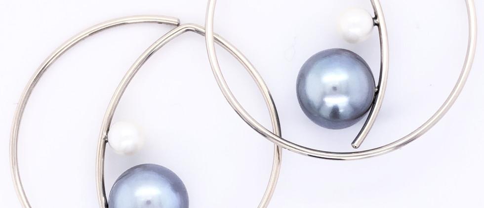 Pearl Crescent Hoops