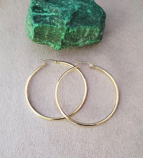 14 karat yellow gold hoops