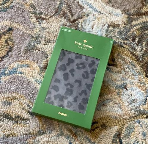 kate spade | cheetah spot black tights