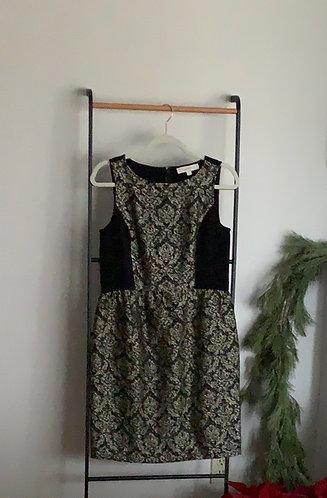 LOFT | black and gold dress