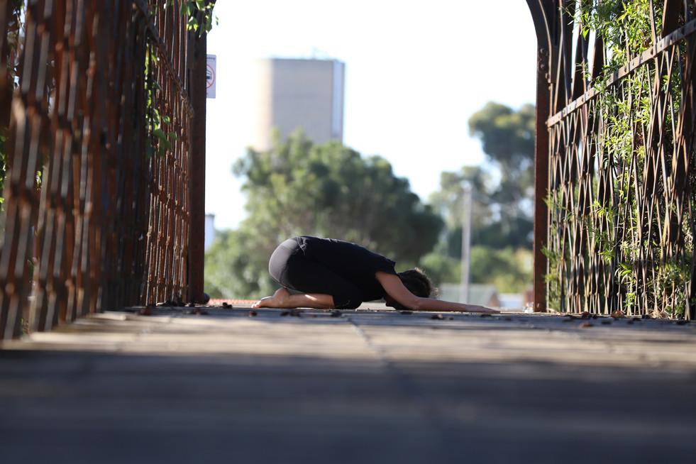Calming yoga pose on bridge