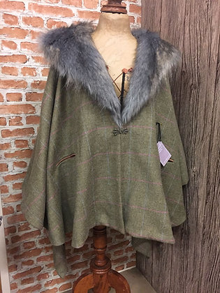 Crossbill Faux Fur Tailored Poncho