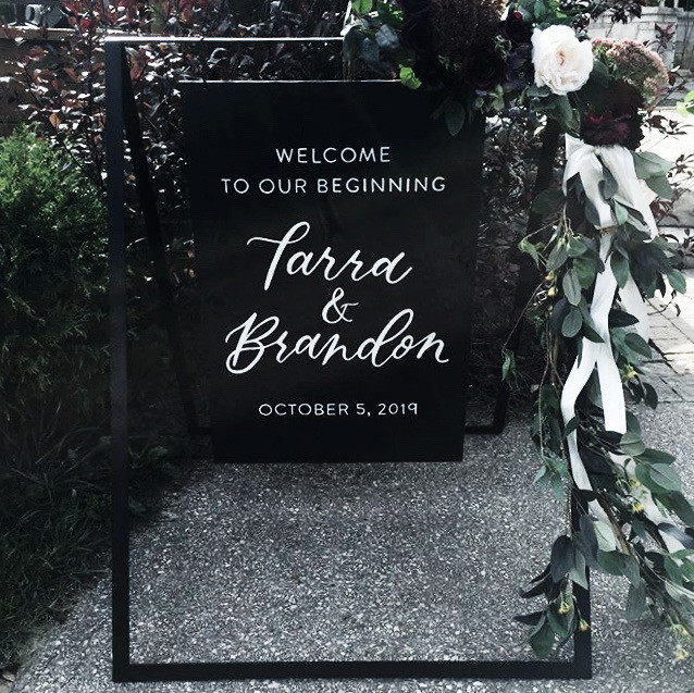 Clear Acrylic Sign Seating Chart Calligraphy Wedding Welcome Sign Wedding GTA Toronto York Region Calligraphy Calligrapher Megan Nicole Lettering Wood Sign