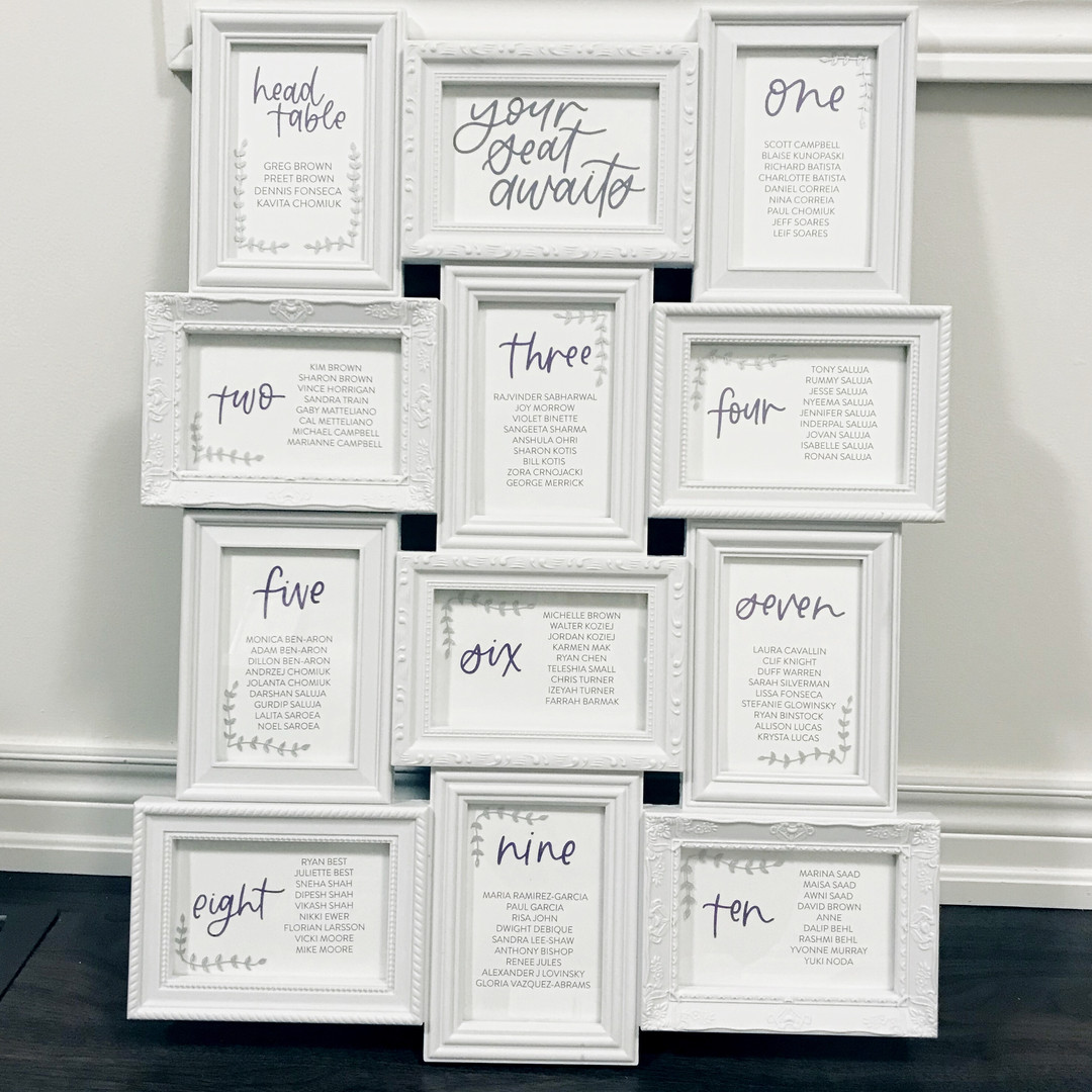 Photo Frame Sign Seating Chart Calligr