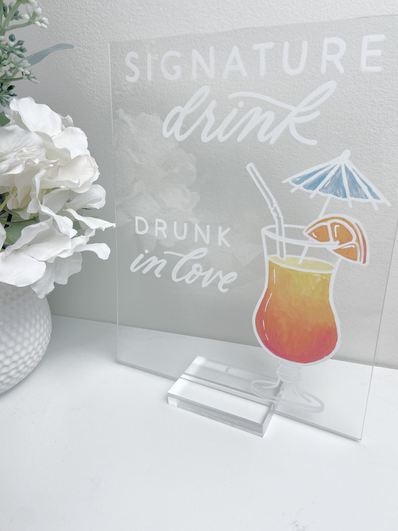 Signature Drink Illustration Bar Menu Clear Acrylic Sign Seating Chart Calligraphy Wedding Welcome Sign Wedding GTA Toronto York Region Calligraphy Calligrapher Megan Nicole Lettering