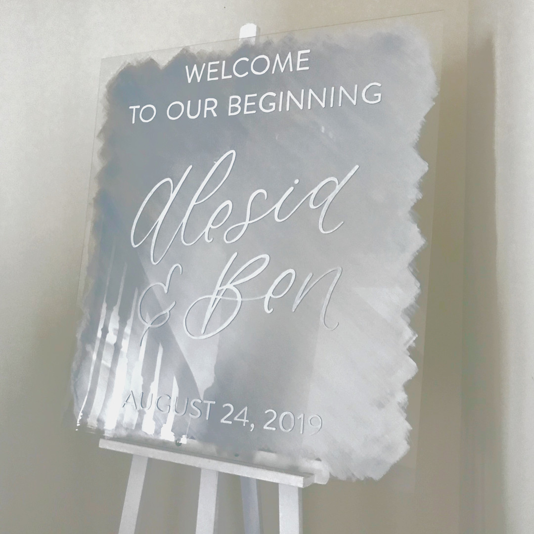 Clear Acrylic Sign Seating Chart Calligraphy Wedding Welcome Sign Wedding GTA Toronto York Region Calligraphy Calligrapher Megan Nicole Lettering