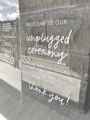 Clear Acrylic Sign Unplugged Ceremony Signature Drink Illustration Bar Menu Clear Acrylic Sign Seating Chart Calligraphy Wedding Welcome Sign Wedding GTA Toronto York Region Calligraphy Calligrapher Megan Nicole Lettering