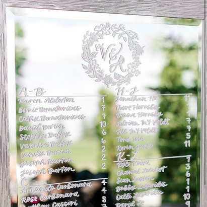 Clear Acrylic Sign Seating Chart Calligraphy Wedding Welcome Sign Wedding GTA Toronto York Region Calligraphy Calligrapher Megan Nicole Lettering Mirror Seating Chart