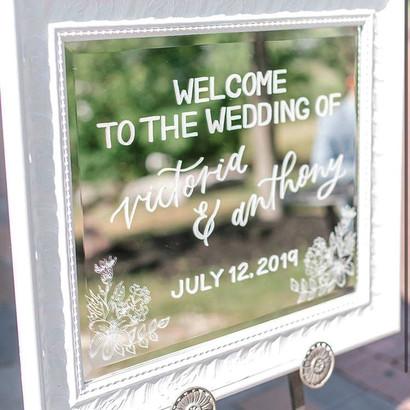 Clear Acrylic Sign Seating Chart Calligraphy Wedding Welcome Sign Wedding GTA Toronto York Region Calligraphy Calligrapher Megan Nicole Lettering Mirror