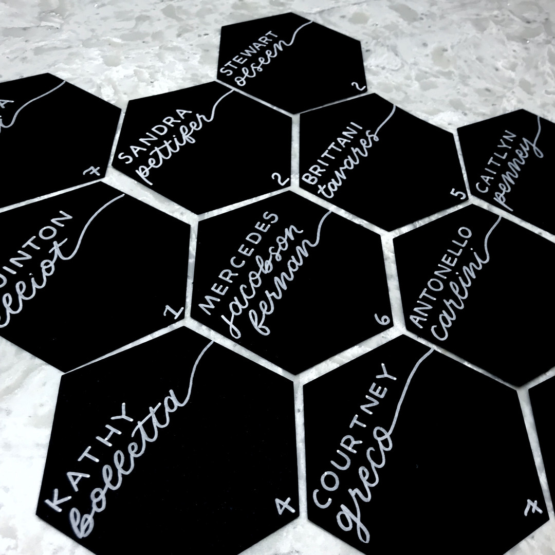 Hexagon black and white unique Place Cards Hand torn handmade deckled edge ripped paper Place Cards Clear Acrylic Sign Unplugged Ceremony Signature Drink Illustration Bar Menu Clear Acrylic Sign Seating Chart Calligraphy Wedding Welcome Sign Wedding GTA Toronto York Region Calligraphy Calligrapher Megan Nicole Lettering Order of Events Sign