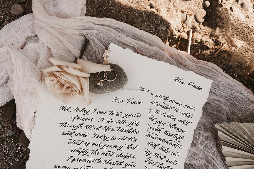 Handwritten calligraphy vows, toronto wedding calligraphy, megan nicole lettering