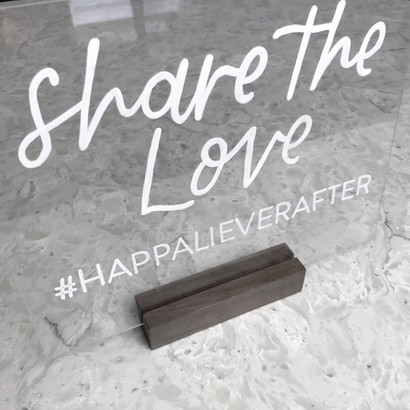 Share the love hashtag sign Clear Acrylic Sign Wooden paper tented Place Cards Clear Acrylic Sign Unplugged Ceremony Signature Drink Illustration Bar Menu Clear Acrylic Sign Seating Chart Calligraphy Wedding Welcome Sign Wedding GTA Toronto York Region Calligraphy Calligrapher Megan Nicole Lettering Order of Events Sign