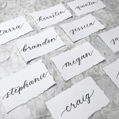 Hand torn handmade deckled edge ripped paper Place Cards Clear Acrylic Sign Unplugged Ceremony Signature Drink Illustration Bar Menu Clear Acrylic Sign Seating Chart Calligraphy Wedding Welcome Sign Wedding GTA Toronto York Region Calligraphy Calligrapher Megan Nicole Lettering Order of Events Sign