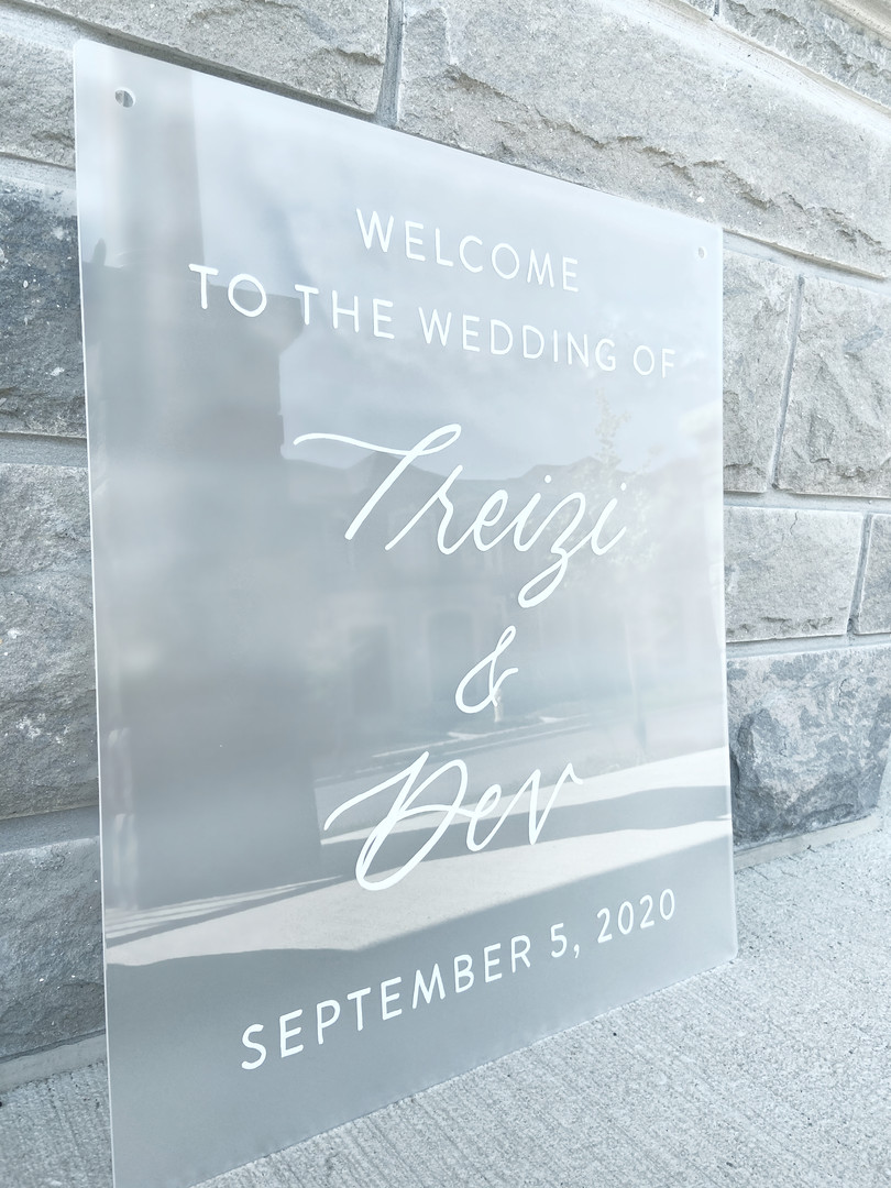 Frosted Acrylic Sign Seating Chart Calligraphy Wedding Welcome Sign Wedding GTA Toronto York Region Calligraphy Calligrapher Megan Nicole Lettering