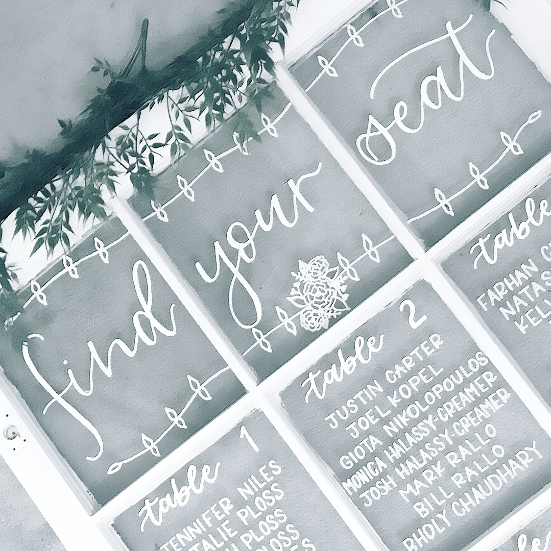 Window Pane Farm Window Seating Chart Calligraphy Wedding Welcome Sign Wedding GTA Toronto York Region Calligraphy Calligrapher Megan Nicole Lettering