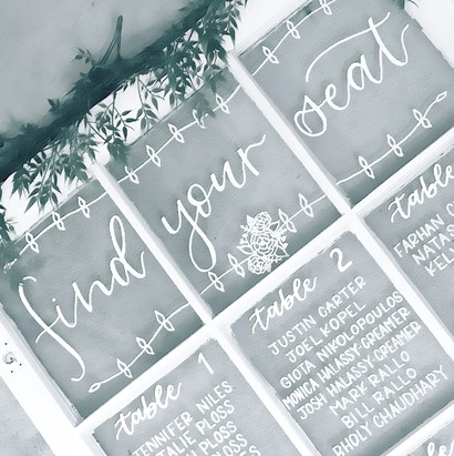 Window Pane Farm Window Seating Chart Calligraphy Wedding Welcome Sign Wedding GTA Toronto York Region Calligraphy Calligrapher Megan Nicole Lettering
