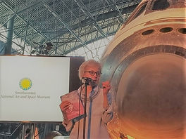 P OConnell Pearson speaks at the National Air & Space Museum Udvar Hazy Center