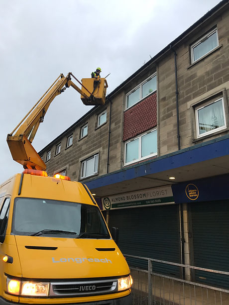 Roofing repair on Barrhead Main Street