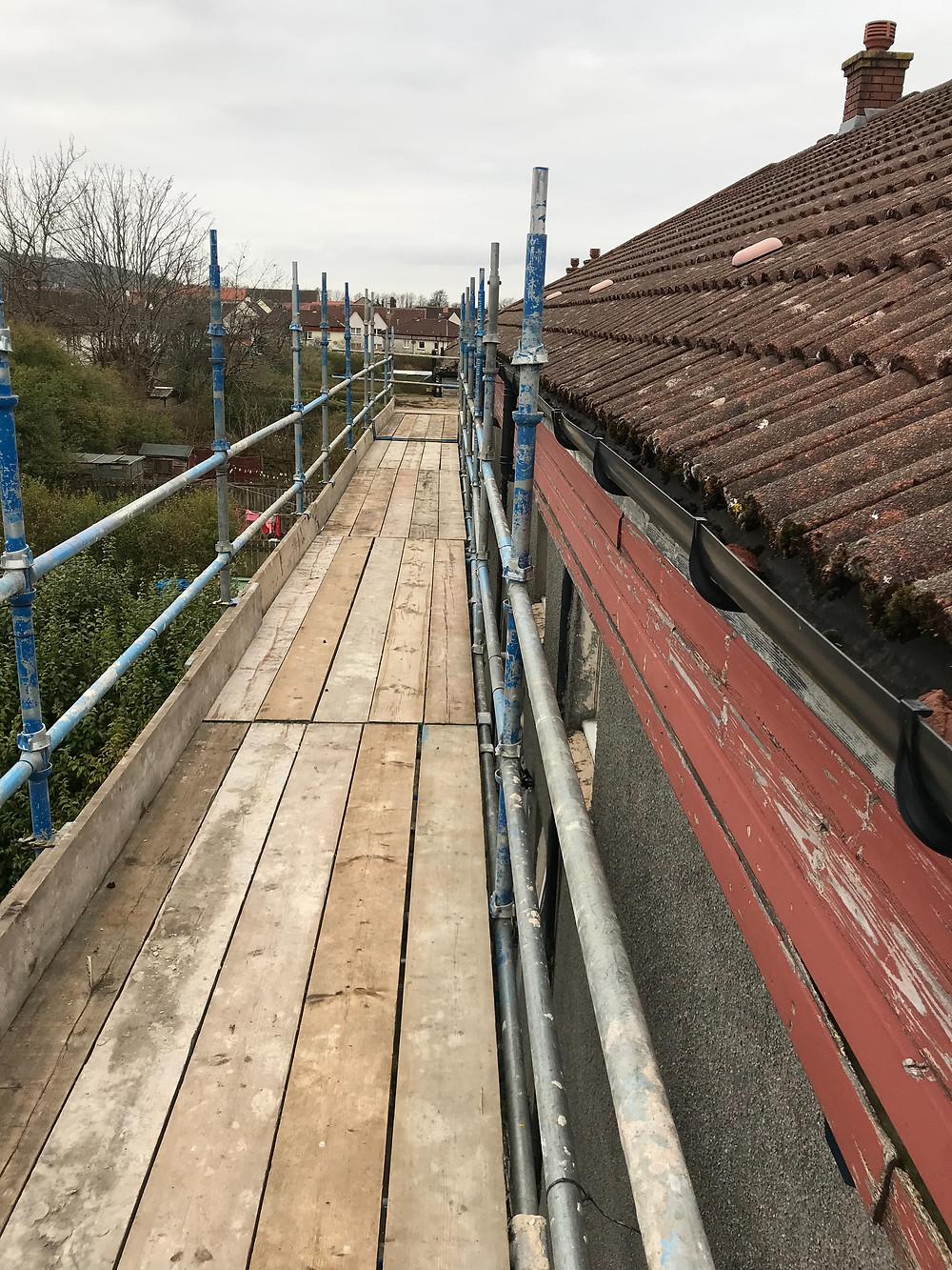 Scaffolding set up with perfect working height!