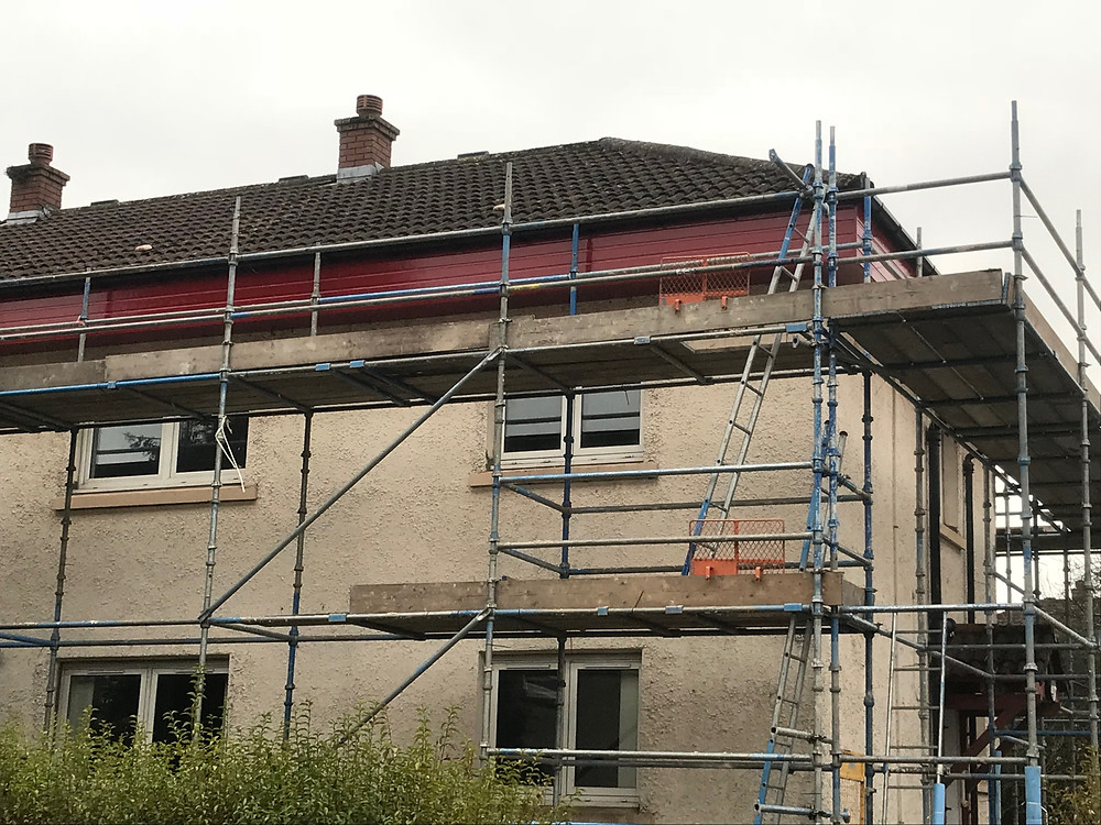 Roofing project with scaffolding erected