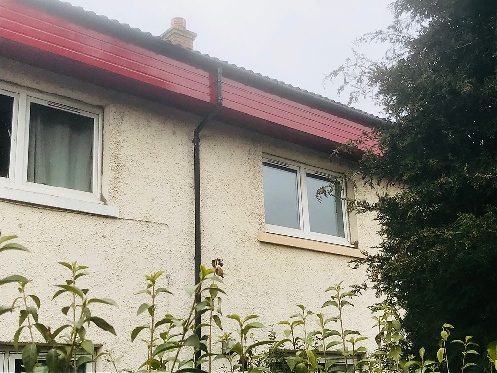 Close up of newly fitted weather boards and gutters