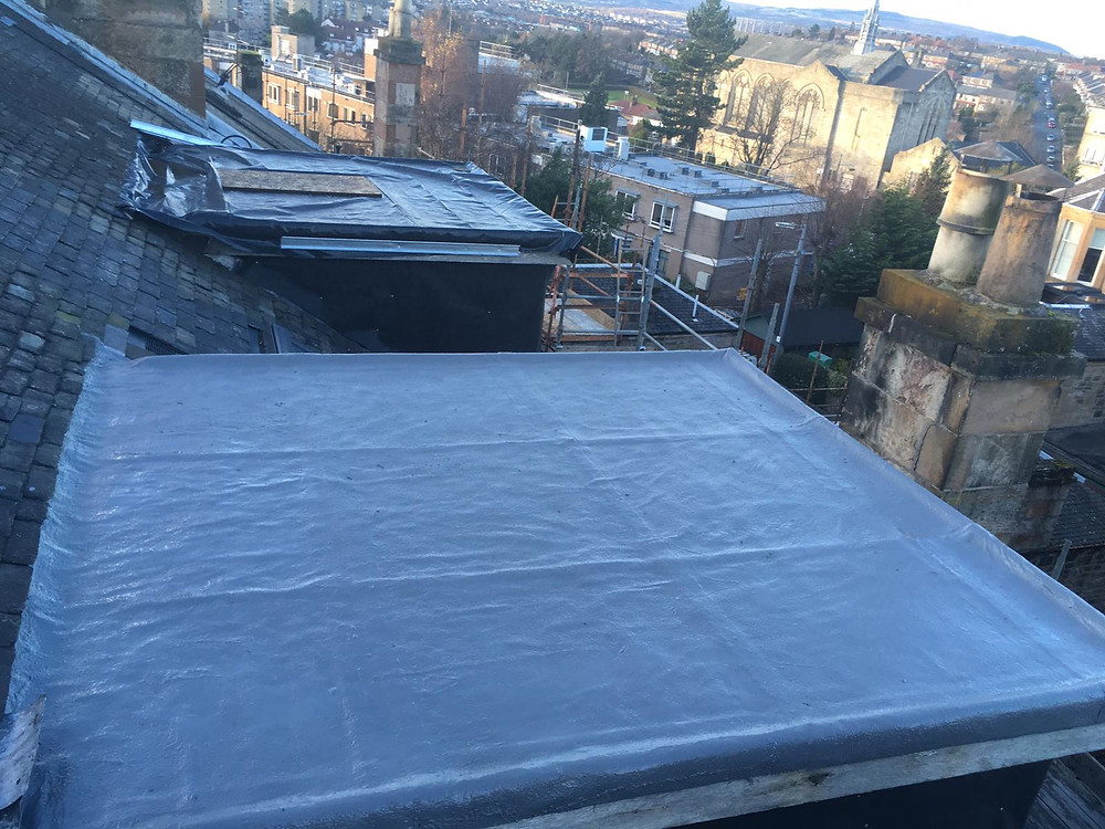 Dormer flat roof coated with liquid rubber Glasgow West end
