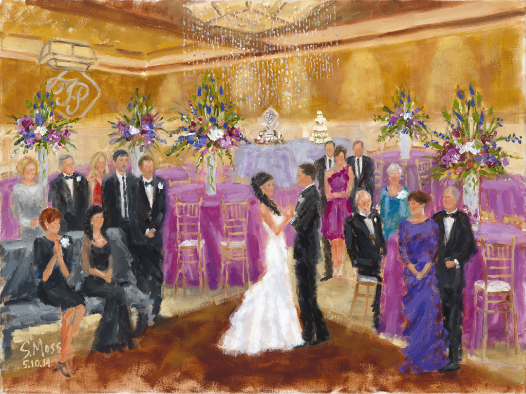 wedding paintings and live event paintings by artist susan moss cooper dallas texas mcdougal wedding painting sm