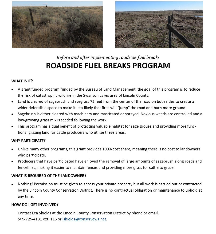 Explaination of Roadside fuel breaks  - how they protect habitat for sage grouse and also provides defensible space for land owners