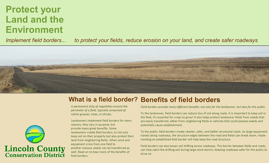 Grphic explain how filed borders work to protect fields and reduce erosion.