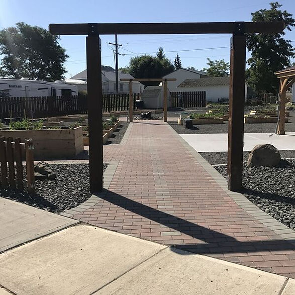 Entrance into the renovated community garden