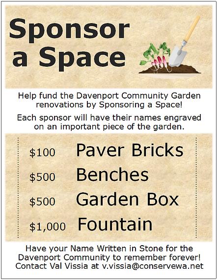 Sponsor a space fund raiser for the community garden