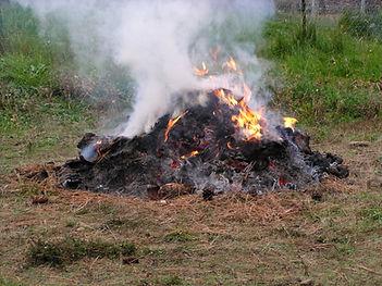 Small burning slash pile