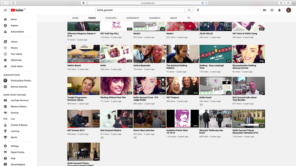 A screenshot of the Holly Gazzard YouTube page before we got to work on it