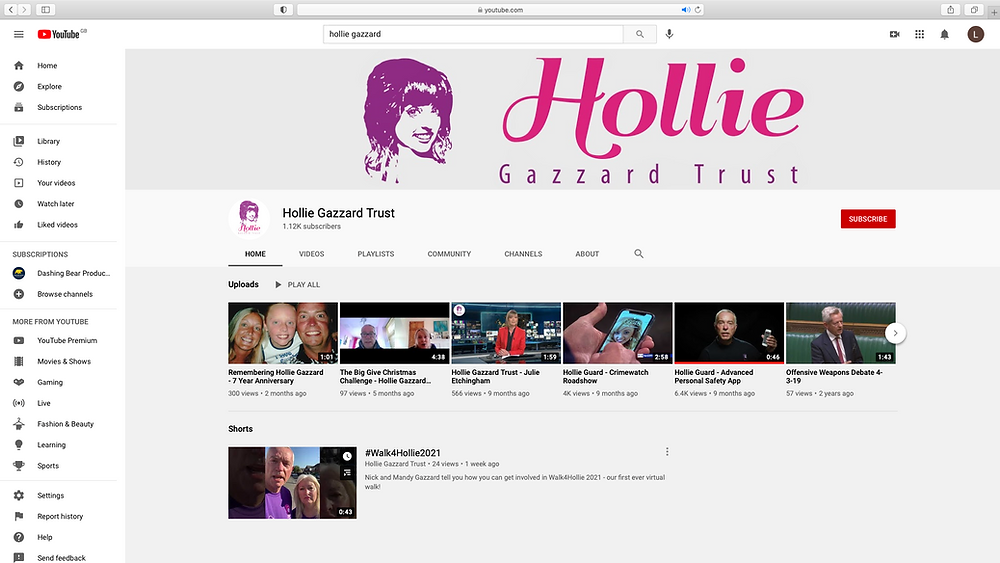 The Hollie Gazzard YouTube before we got to work editing it