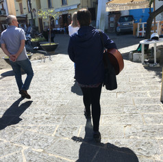 Part of my residency was strolling, playing and singing.