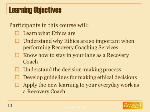 CCAR- Ethical Considerations for Recovery Coaches