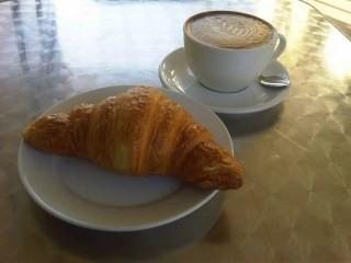cuppa joe and a chocolate croissant