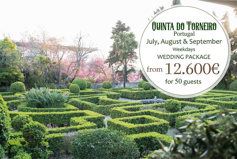 Um pacote de casamento com serviços incluidos de Julho a Setembro de 2021 na Quinta do Torneiro