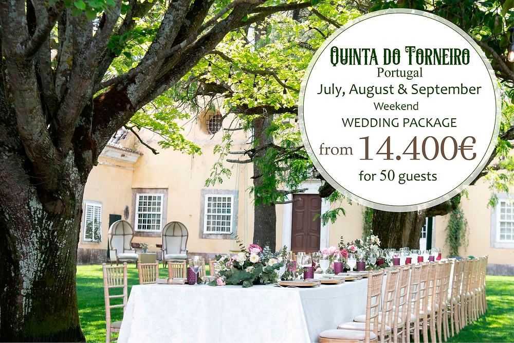 O pacote de verão para casamentos na Quinta do Torneiro